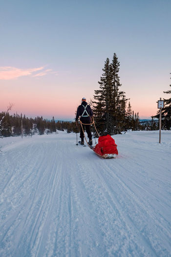 man pulling sled EyeEm Selects Man Frozen Nature Hiker Winterscapes Tree Snow Snowing Cold Temperature Winter Sunset Frozen Christmas Sky Sled Winter Sport Vehicle Snowboarding Ski Slope Powder Snow Ski Goggles Skating Sled Dog Reindeer Snowflake Tobogganing