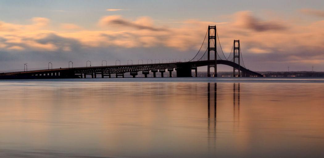View of suspension bridge at sunrise