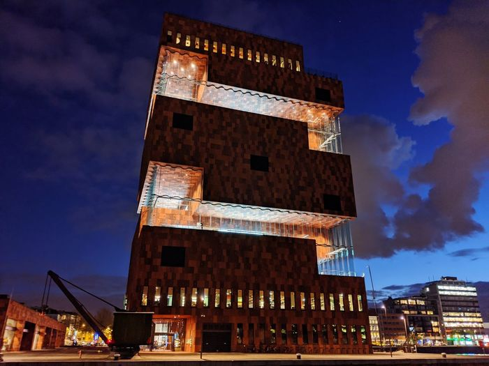 Low angle view of historical building against sky at night