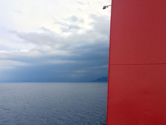 Sea Red Ferry Minimalism