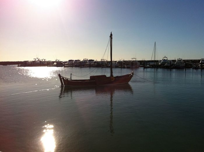 Geraldton Western Australia Nautical Vessel Boat Reflection Transportation Water Sun Mode Of Transport Sunlight Waterfront Moored Silhouette Tranquil Scene Tranquility Sunbeam Calm Day Sky Nature Scenics Sea