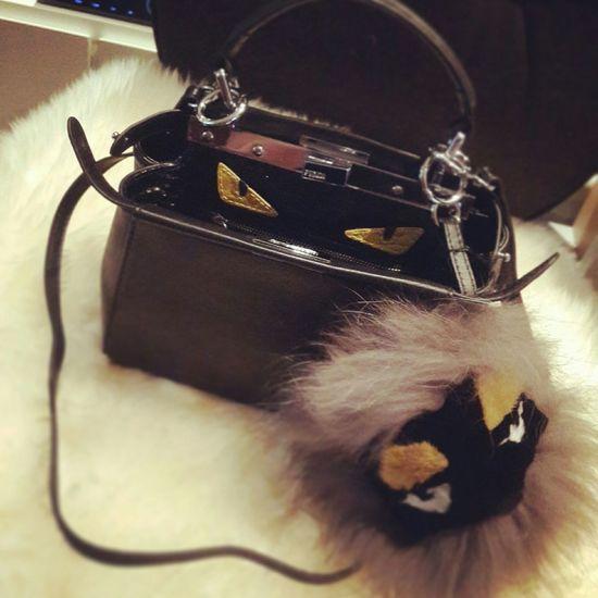 My mini monster ...cute cute ^_^ FendiMonster Fendi I Love It ❤ Fashion So Cute :) Cool New Bag Girls Being Girls