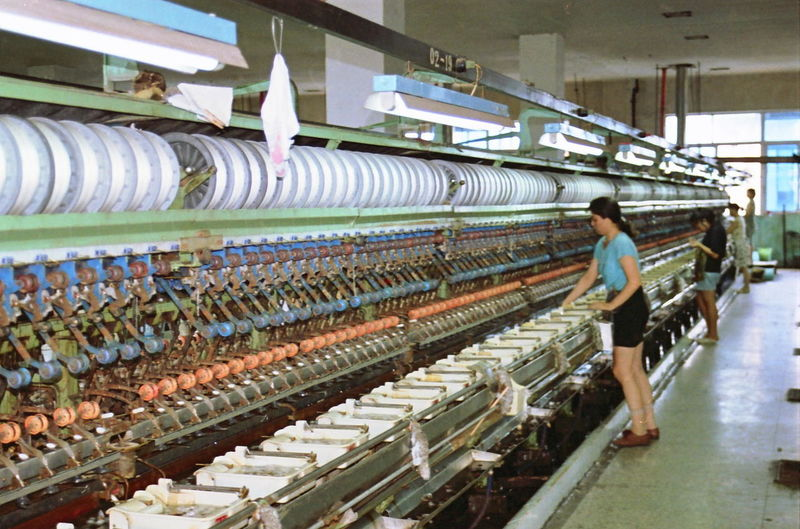 Silk Spinning Mill Business China, Wuxi, Silk, Mill, Spinning, Spinning Mill, Manufacturing, Person, Operator City Life Contemporary In A Row Indoors  Large Group Of Objects Metal Old Urban
