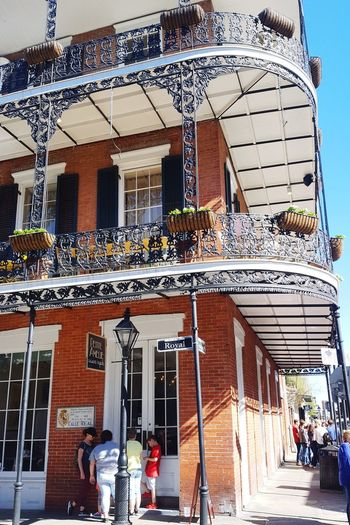 Royal St architecture New Orleans Louisiana Bourbon Street Mardi Gras Men Architecture Sky Building Exterior Built Structure Awning