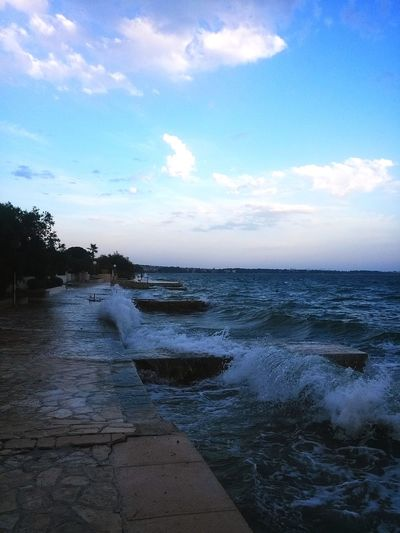 Sea Storm Cloud Sky Croatia Zadar Diklo Beach Summer Water Beautiful Horizon Over Water
