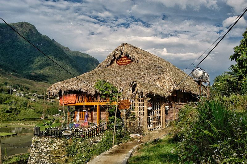 Vietnam Sapa Plant Cloud - Sky Architecture Sky Built Structure Tree Nature Building Building Exterior Day No People Mountain Outdoors Growth House Sunlight Beauty In Nature Residential District Roof Landscape