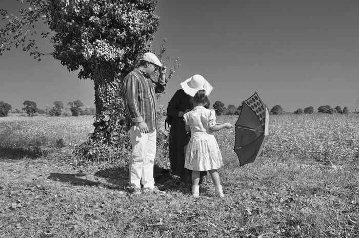 Monochrome Photography Tree Togetherness Full Length Family With One Child Family Girls Bonding Clear Sky Single Mother Love Mother Daughter Headscarf Casual Clothing Field Person Day Young Adult Blackandwhite Black And White