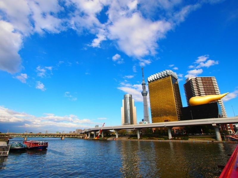 River Sumidariver Building Skytree Tokyo Sky Tree Highway Ship Blue Sky Clouds Blue Japan Photography
