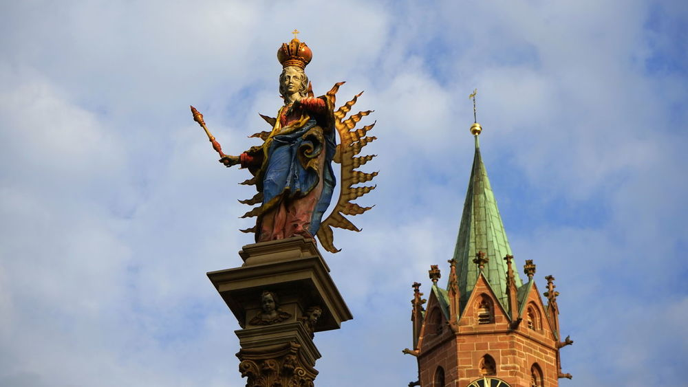 Ladenburg Architecture Art Church Famous Place Gold Colored History Human Representation Ladenburg Germany Low Angle View Place Of Worship Religion Sculpture Sky Spirituality Statue Tourism