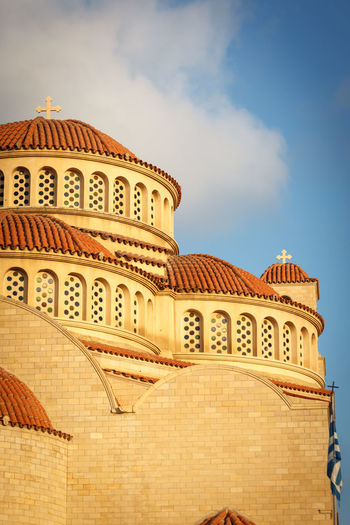 Aspect of Greek Orthodox Cathedral Cross Greek Architecture Building Exterior Built Structure Church Architecture Day Dome History Low Angle View No People Outdoors Religious Architecture Roof Tiles Sky Stone Textures Masonry