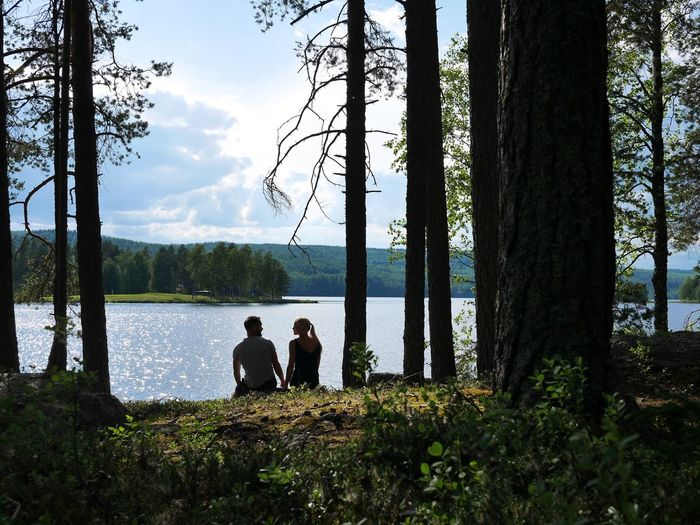 People sitting by tree trunk by lake against sky