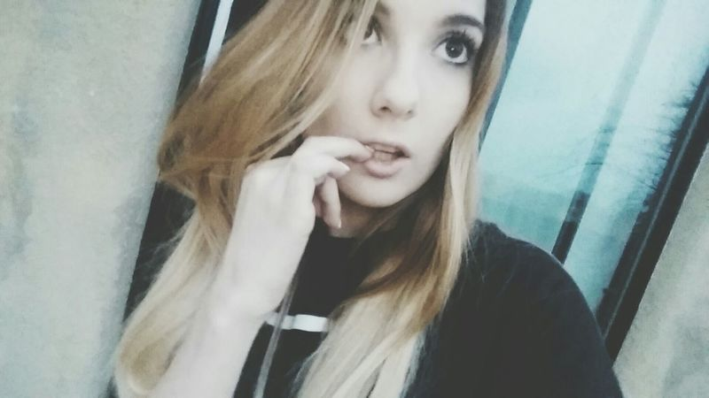 Self Portrait Selfie Hi! That's Me Whatever Weird Face Long Hair Outside Bored