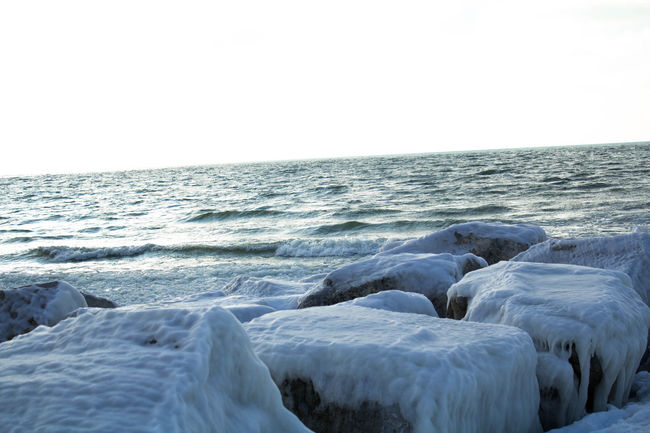 Beauty In Nature Clear Sky Cold Temperature Day Frozen Grand Haven Grand Haven MI Grand Haven Pier Ice Lake Lake Michigan Lakeshore Nature No People Outdoors Scenics Sky Snow Tranquil Scene Water Winter
