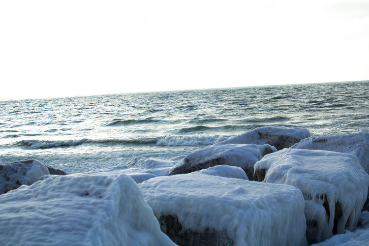 Scenic view of frozen sea against clear sky