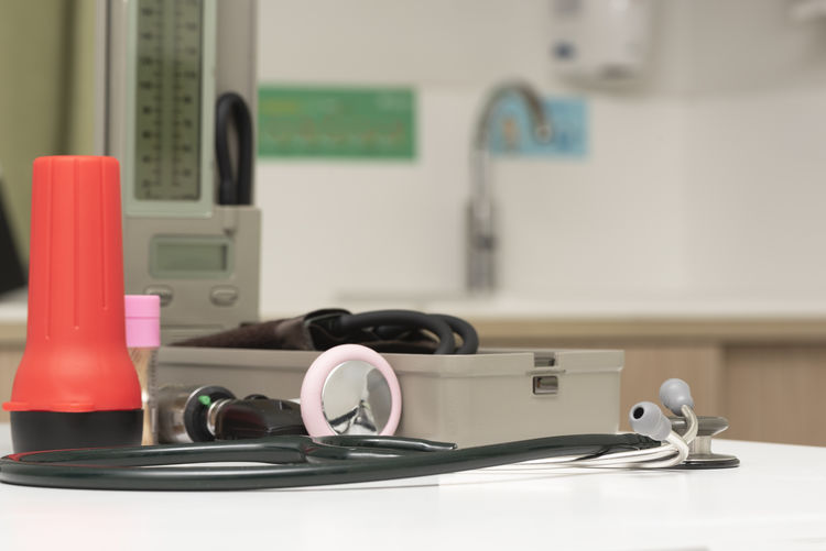 Close-up of medical equipment on table