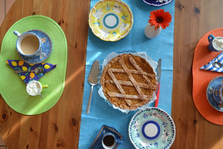 Breakfast Homemade Food Bread Breakfast Close-up Crockery Cup Directly Above Drink Eating Utensil Food Food And Drink Freshness Glass Healthy Eating High Angle View Indoors  No People Plate Ready-to-eat Still Life Table Table Knife Temptation Wood - Material