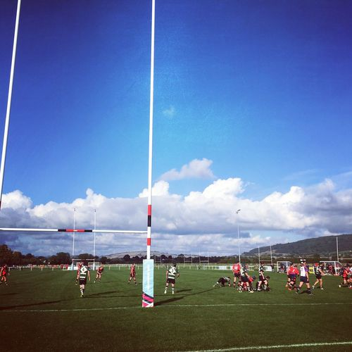 Local Rugby game under blue skies Blue Sky Clear Day Cloud - Sky Cold Day Fresh Fresh Air Health Local Outdoors Recreation  Rugby Rugby Game Rugby Player Sky Sport