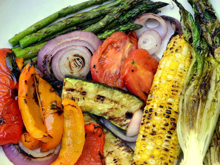 High angle view of roasted vegetables on table