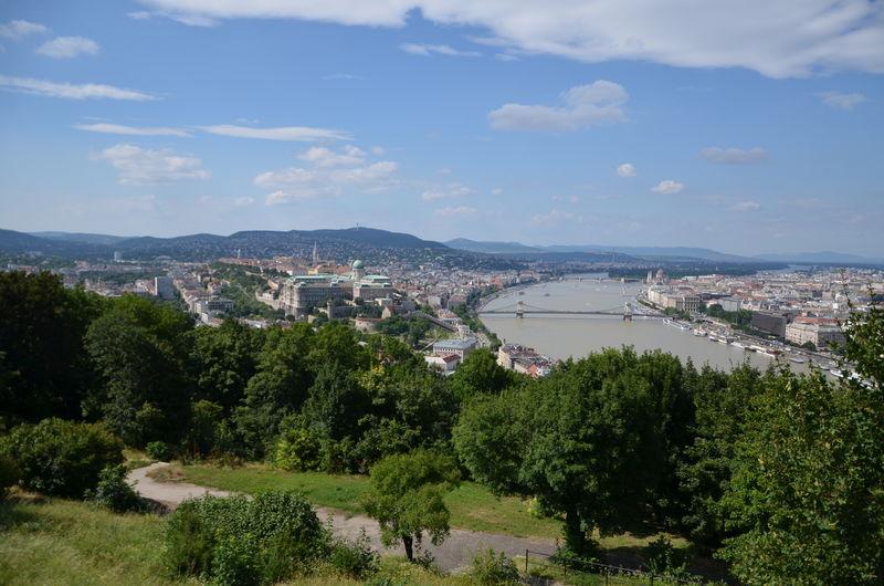 Danube river in city against sky