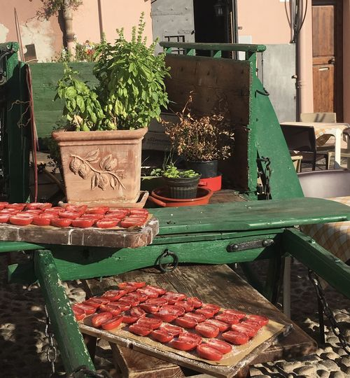 Basil Plant Fresh Basil Sun Dried Tomatoes Sun Dried Food And Drink Food Market Freshness Market Stall Choice For Sale Healthy Eating No People