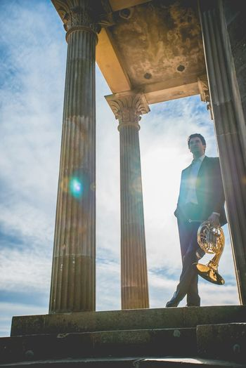 Musician French Horn Portrait Vivid Colourful Temple Sun Flare
