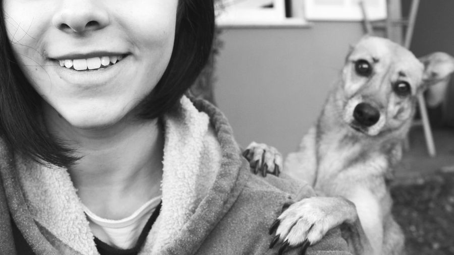 Portrait of dog with smiling female owner
