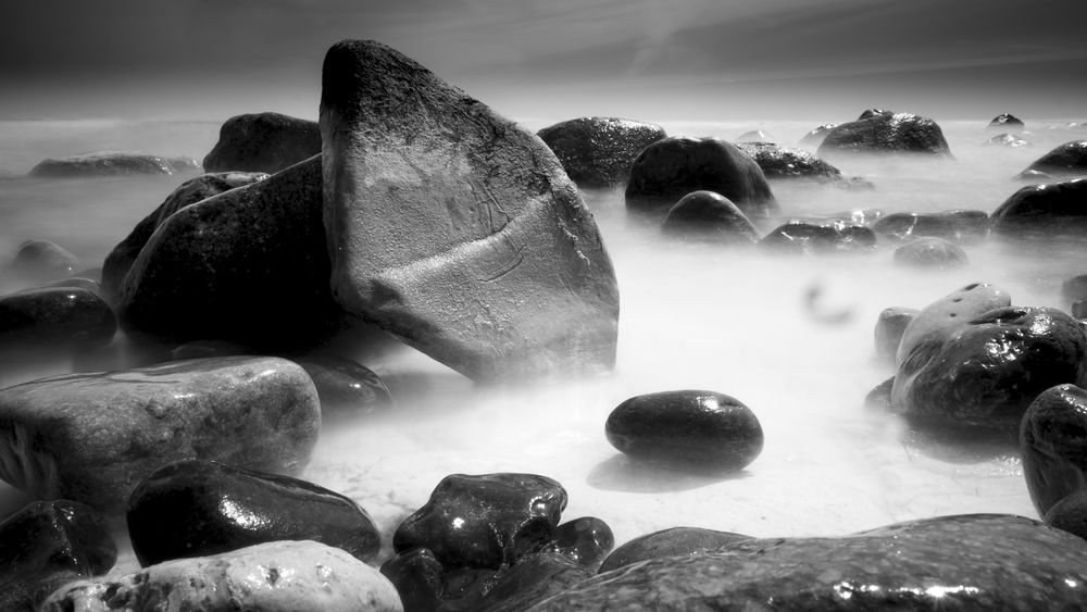 White chalk grounded beach at Möns Klint. Denmark Beach Beauty In Nature Cloud - Sky Day Detail Geology Land Long Exposure Møns Klint Nature No People Non-urban Scene Outdoors Pebble Rock Rock - Object Scenics - Nature Sea Sky Solid Stone - Object Water