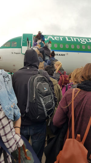 Aer Lingus Aeroplane Airplane Airport Boarding Dublin Airport On The Tarmac Outdoors Real People Rear View Transportation