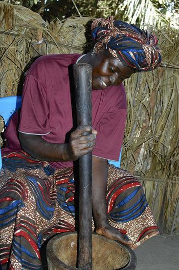 Niafrang Senegal Niafarang Niafourang Niafrang Pounding  West Africa Adult Africa Casamance Day One Person Outdoors Preparing Food Real People Senegal
