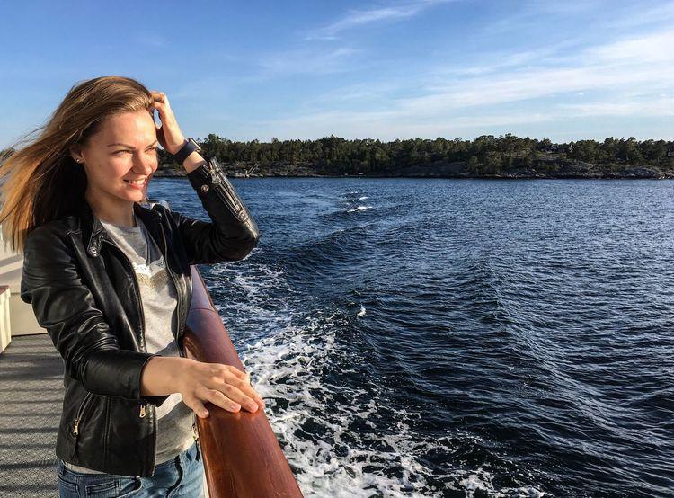 Archipelago Stockholm Stockholm Archipelago Cruise Ship Cruise Marine Nautical Outdoors Girl Lady Lady Looking Ahead