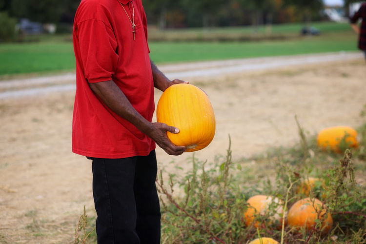 Midsection of man standing by pumpkins on field
