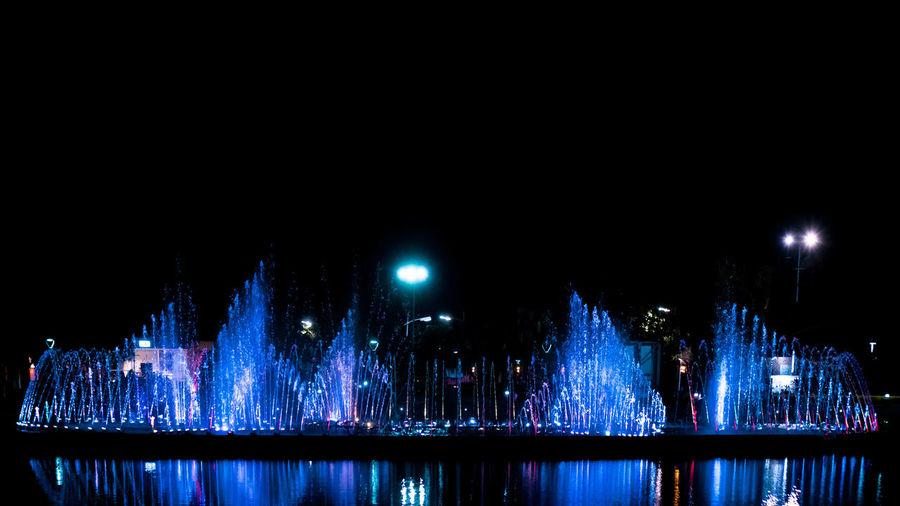 Fountain Night Recreational Park Sabah Borneo Water Reflections