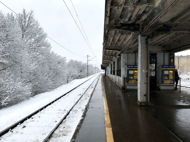 Zugló Railway Station Contrast Blackandwhite Cold Temperature Snow Winter Weather Transportation Rail Transportation Railroad Track Day Mode Of Transport The Way Forward Public Transportation Cable Nature No People Sky