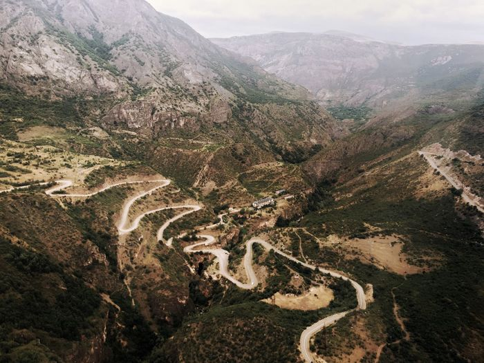 High angle view of mountain road