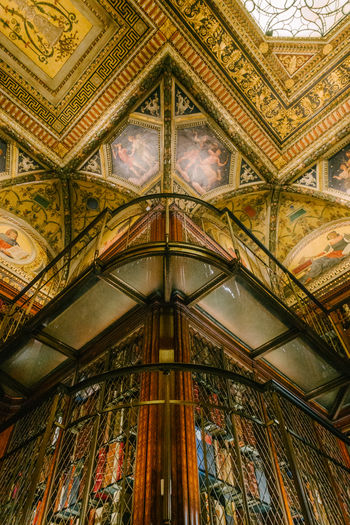 The Morgan Library & Museum Books Bookshelf Ceiling Architecture Low Angle View Built Structure Indoors  Ornate Architecture And Art Manhattan Murray Hill NYC New York