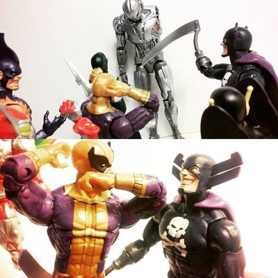 """""""Brought a little gift with me"""" """"Holy carp how'd you get that!? And where's his other arm!?"""" """"Found it at starks lab for some reason,it was originally created by the antman and Oh,no worries I got a guy on that already..yoll meet em soon"""" """"Aha!,okay god..scared the crap out of me"""" Marvellegends Mastersofevil Grimreaper Ultronprime Yellowjacket Batroc Tigershark Ultron Baf Actionfigurephotography Articulatedcomicbook ACBA Toyunion Toystagram Toyphotography Toy4life Toysartistry Toycommunity Toycollector Actionfigures Toysmydrugs Actiontoyart Nerd Mcu Hasbro tcb_peekaboo figures figurecollection manchild"""