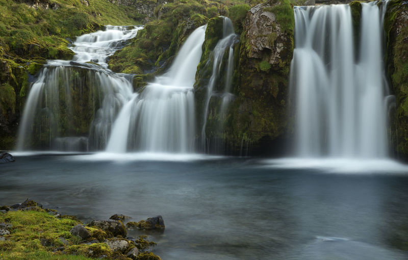 Mountain Waterfall in Iceland. Beauty In Nature Countries, Day Environment Europe, Iceland, Icebergs, Landscape, Frozen, Glacier, Lagoon, Idyllic Long Exposure Motion Mountain, Nature No People Nordic, North, South, East And West Outdoors River, Scenics, Stream - Flowing Water Stream, Summer, Travel Destinations Travel, Holidays Vacations Water, Waterfall,
