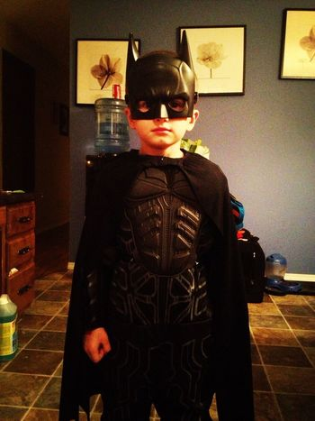 Zachary being batman for Halloween.