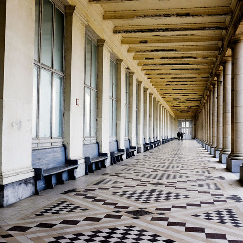 Oostende Belgium 2015 Absence Architectural Column Architecture Cobblestone Colonnade Column Composition Day Exterior Flooring In A Row Leading Men Narrow Pattern Pavement Paving Stone Perspective Shadow The Way Forward Tiled Floor Walking