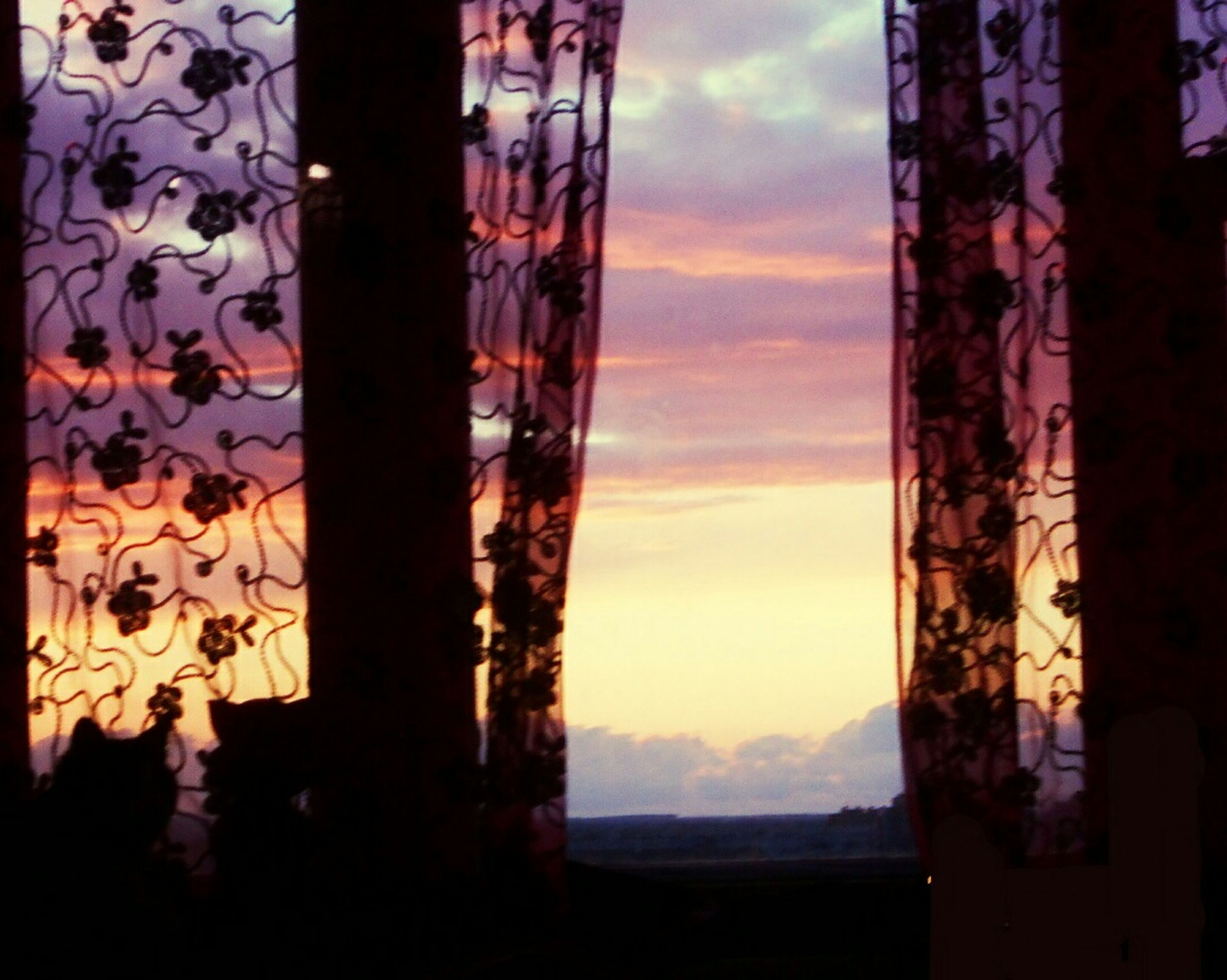 sunset, sky, no people, nature, close-up, drapes, indoors, beauty in nature, day