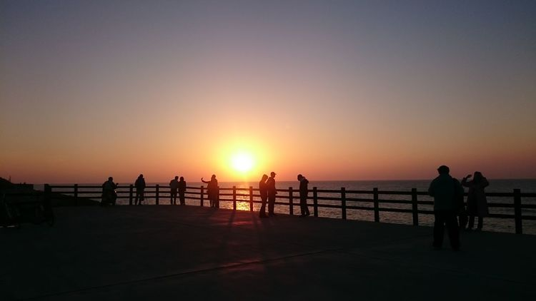 Sunset Silhouette Railing People Sea Sun Sky Travel Destinations Outdoors Vacations Full Length Beauty In Nature Tourism Adult Standing Beach Large Group Of People Nature Adults Only Horizon Over Water