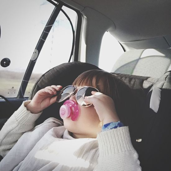 Silly Girl Sunglasses Playing Kids Child Driving in a Car Pacifier Fun Children