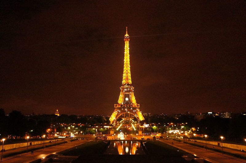 Cultures Night Travel Destinations City Christmas Tree Illuminated Christmas Tree Cityscape Architecture No People Sky Outdoors Fame Eiffel Tower