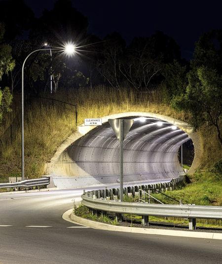 Illuminated Night No People Outdoors Road Street Light Transportation Tunnel