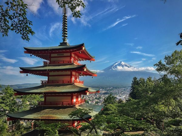 Evening at Chureito pagoda Fuji mount view Cloud - Sky Architecture Sky Religion Spirituality Tree Place Of Worship No People Built Structure Nature Day Blue Building Exterior Outdoors Water Beauty In Nature