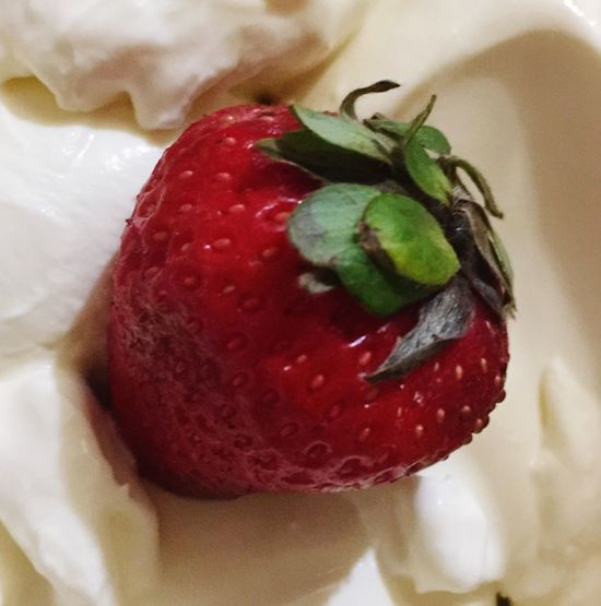 Frutilla con crema . . . Food And Drink Food Strawberry Red Freshness Indoors  Close-up