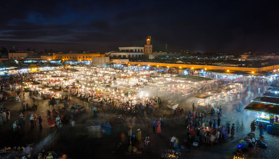 Crowded Night Food Market At Square Jemaa El Fnaa, Marrakech, Morocco