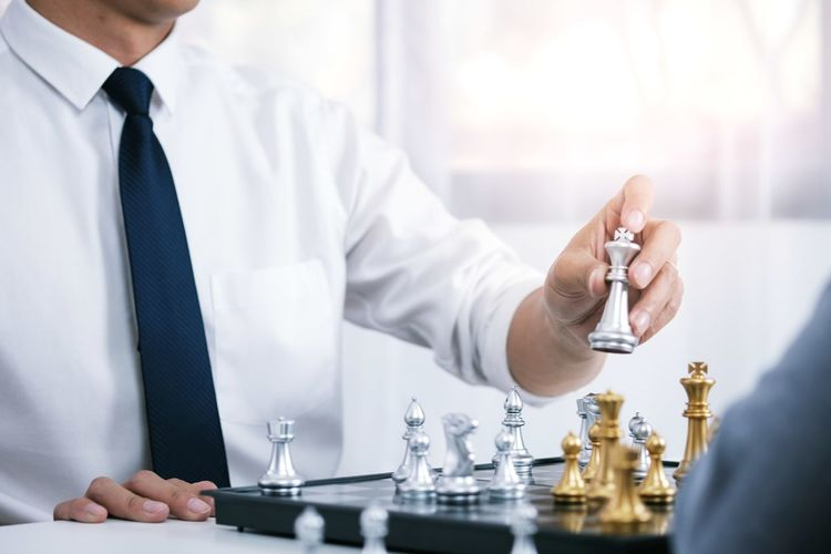 Businessman play with chess game. success management concept of business strategy and tactic challenge Leadership Success Concept Victory Challenge Game Checkmate Hand Thinking Strategy Move Business Board King Chess Businessman Competition Strategic Player Fight Win Leisure Knight  Education Decision People Lifestyle Battle Object Conflict Playing Planning Intelligence Sport Concentration War Corporate Occupation Hobbies Man Pieces Chess Board Confident  Young Queen Woman Competitive Opposite Opportunity Holding Men Midsection Real People Indoors  Technology One Person Focus On Foreground Front View Table Arts Culture And Entertainment Adult Clothing Selective Focus Day Healthcare And Medicine Lab Coat
