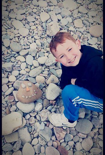 Pebbles On The Beach My Son <3 Enjoying Life Spey Bay