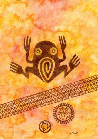 Botschaft Krafttier Frosch Frog Aztec Symbol ArtWork Art Embassy Symbolmalerei Spirituality Spiritual Kunst Painting Aquarellpainting Aquarellzeichnung Reiki Silhouette Aztecpattern Aztec Inspired